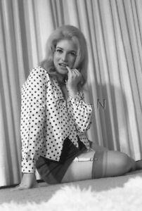 Semi Nude B/W Photo- Blond- Garter- Stockings- Polka Dot Shirt- Skirt- On Floor
