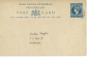 SEYCHELLES, 6-C POSTAL STATIONERY CARD, SCARCE, 1894