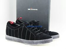 KITON HANDMADE SNEAKERS SHOES BLACK 100% LEATHER SUEDE SIZE 8 ITALY NEW # 5