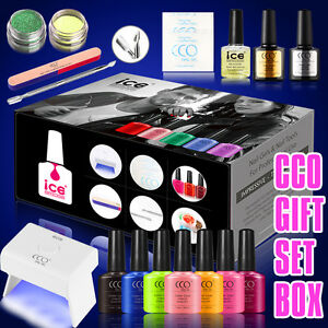 OFFICIAL CCO ICE UV LED GEL POLISH VARNISH 3W LED LAMP +7 COLOR GEL GIFT BOX SET