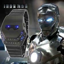 Iron Man Blue LED Time & Date Alloy Band Quartz Sports Digital Watch New.