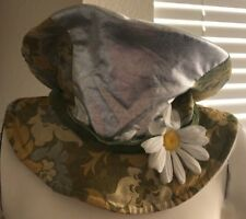 Vintage Mad Hatter style Floppy Top Hat Hippie Festival Green Silver Unisex