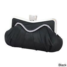 New Jacki Design BLACK ELEGANT SATIN Evening Clutch Purse Prom Ball Wedding
