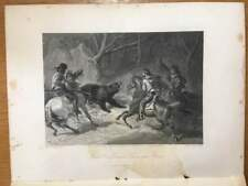 1874 Steel-cut lithograph of NATIVE CALIFORNIANS LASSOING A BEAR - F.O.C. Darley