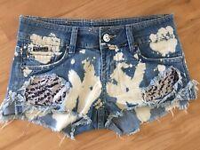Ladies REFUGE Short Denim Shorts Size 8 Faded Blue Distressed Frayed Cut Offs