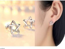 10mm Star Of David CZ Micro Pave Sterling Silver stud Earrings Gift box K22A