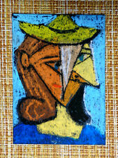 ACEO original pastel painting outsider folk art brut #010510 abstract surreal