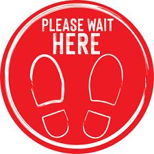 Social Distancing Floor Sticker/Decals - Anti Slip, Wait Here Stickers