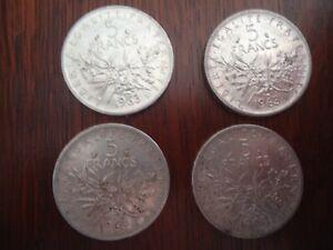 4 PIECES EN ARGENT 5 FRANCS SIGNE Roty 1963 Semeuses