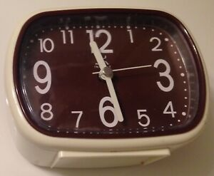 INFINITY-  RECTANGULAR CREAM COLORED CASE WITH BROWN DIAL ALARM CLOCK