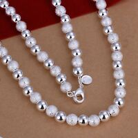 925 Sterling Silver Necklace Beads Balls 20 Inches 8MM Lobster Clasp B19