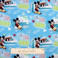 Nautical Fabric - Mickey Mouse Live Love Surf Scene Blue - Springs YARD