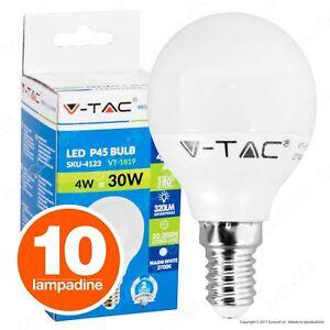 10 LAMPADINE LED V-TAC E14 4W Miniglobo sfera Lampade LUCE Calda Naturale Fredda
