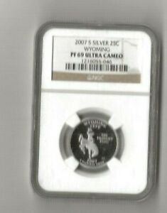 2007 s silver Wyoming statehood quarter NGC PF 69 Ultra Cameo