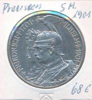 """Kaiserreich Preussen 5 Mark 1901 """" Doppelbüste """""""