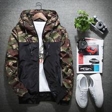 Men Casual Camo Thin Hooded Jacket Wind Breaker Sport Loose Coat Tops