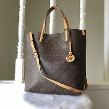 MICHAEL KORS HAYLEY Signature Large Tote Brown Shoulder Bag