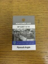 03/05/2014 Ticket: Portsmouth v Plymouth Argyle [Montgomery Suite VIP Guest Pass