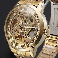 Winner Automatic Stainless Steel Case & Strap Skeleton Mechanical Watch Golden