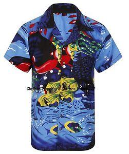 LOUD MENS ALOHA HAWAIIAN SHIRT HAWAII HOLIDAY BEACH STAG SEA SUMMER FISH BEER UK
