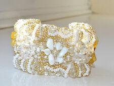 Bracelet Beaded Wide Guatemalan White Yellow Adjustable Flower design Handmade