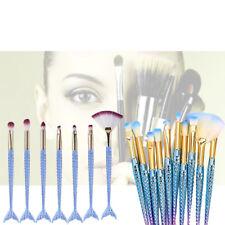 10 Light Blue Mermaid Small Powder Make up Set Foundation Brush Cosmetic Tools