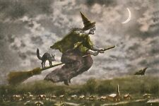 Lovely Early Color Vintage Witch on Broomstick w Black Cat Halloween Wicca Art