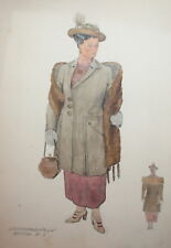 VINTAGE WATERCOLOR PAINTING LADY WITH RETRO COSTUME PORTRAIT SIGNED