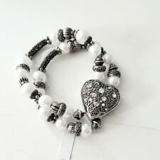 Colleen Lopez Heart and Pearl Silverplated Watch