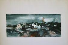 Jean BREANT- Peinture originale signée-Gouache-Phare au bord de mer
