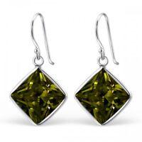 925 Sterling Silver Olivine Cubic Zirconia Square Drop/Dangle Earrings (Des 6)