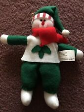 Vintage Snowman Christmas Tree Ornament White Red Green