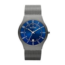 Skagen Herren-Armbanduhr 233XLTTN Edelstahl Titan Analog Quarz Grau Blau 37 mm