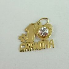 Beautiful 14K Gold Signed #1 Grandma CZ Accent Pendant  Nice Gift!