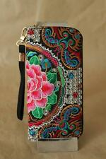 Limited Genuine Embroidered Vintage Tribal BOHO wallet, clutch, purse RED FLOWER