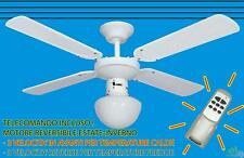 VENTILATORE A SOFFITTO PALE BIANCO CON TELECOMANDO LAMPADARIO E27 LUCE Ø 105 cm