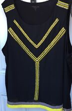 Coldwater Creek 3X Black Sleeveless Top Sheer With Yellow Beaded Overlay Lined