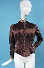 VICTORIAN 1880'S BROWN SILK SATIN BUSTLE BACK BODICE FOR DRESS