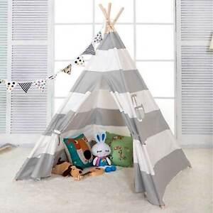 Tipi Zelt Kinderzelt Spielzelt Spielhaus Baumwolle Drinnen Draußen weiß grau
