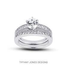 1 1/4ct G SI1 Round Natural Diamonds Plat Vintage Style Ring with Wedding Band