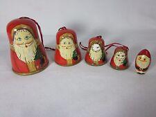 Set of 5 Christmas Wood Bell Santa Ornaments Vintage