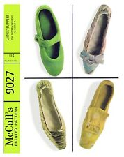 Vintage McCall's 3 Styles Slippers Fabric Material Sewing Pattern # 9027