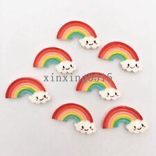 DIY 10 Pcs Resin Rainbow smile Flatback stone child Manual works DIY scrapbooks