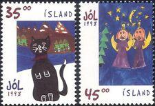 Iceland 1998 Christmas/Greetings/Cat/Angels/Paintings/Animated  2v set (n19371)