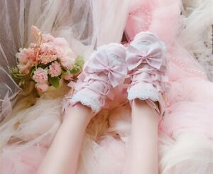 Pink Lolita Ribbon Platform Shoes Kawaii Cosplay Lace Trim Thick Sole Sneakers