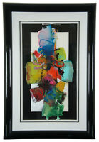 John Hyde Vintage Abstract Modern Expressionist Gouache Watercolor Painting 43""