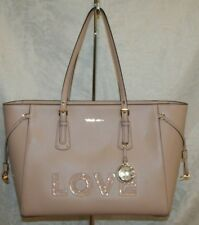 "MICHAEL KORS VOYAGER LG MF TOP ZIP SOFT PINK ""LOVE"" TOTE 30H7GV6T70 LEATHER"