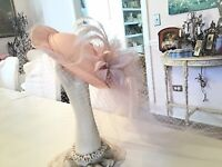 Shabby Vtg Pink Hat Netting Feathers Kentucky Derby Hat for display