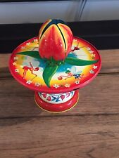 Vtg. J. CHEIN & CO. Toy Tin Magic Tulip Top Spinning Flower