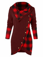 Womens Plaid Tartan Long Sleeve Asymmetrical Tunic T-shirt Casual Blouse size 14